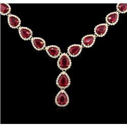 41.78ctw Ruby and Diamond Necklace -  14KT Yellow Gold