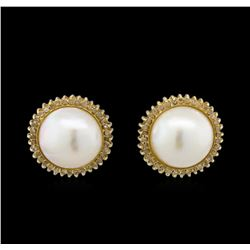 0.76ctw Pearl and Diamond Earrings - 14KT Yellow Gold