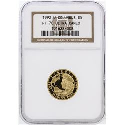 1992-W NGC PF70 Ultra Cameo $5 Columbus Gold Coin