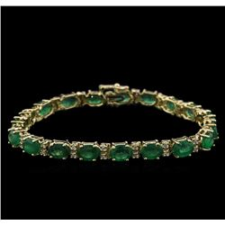 13.12ctw Emerald and Diamond Bracelet - 14KT Yellow Gold
