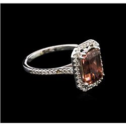 3.14ct Pink Tourmaline and Diamond Ring - 14KT White Gold