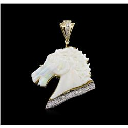 9.00ct Opal and Diamond Horse Head Pendant - 14KT Two-Tone Gold