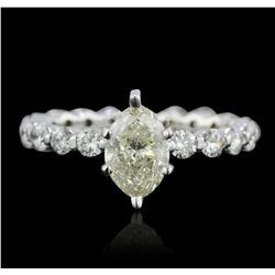 14KT White Gold 1.82ctw Marquise Cut Diamond Ring