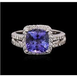 14KT White Gold 3.04ct Tanzanite and Diamond Wedding Ring Set