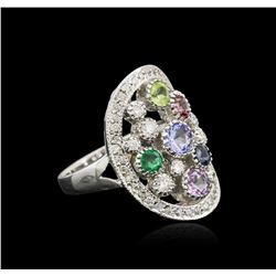 14KT White Gold 1.69ctw Multi Gemstone and Diamond Ring