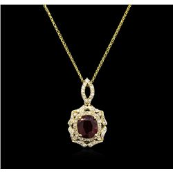 5.42ct Ruby and Diamond Pendant With Chain - 14KT Yellow Gold