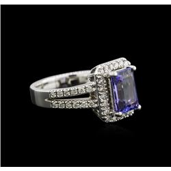 2.18ct Tanzanite and Diamond Ring - 14KT White Gold