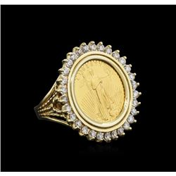 14KT Yellow Gold 0.45ctw Diamond Coin Ring