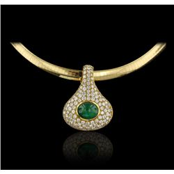 18KT Yellow Gold 3.00ct Emerald and Diamond Enhancer