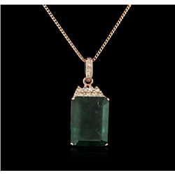 14KT Rose Gold 18.78ct Emerald and Diamond Pendant With Chain