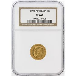 1904-AP NGC MS64 Russia 5R Gold Coin