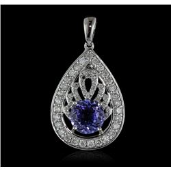 14KT White Gold 1.88ct Tanzanite and Diamond Pendant With Chain