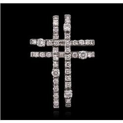 14KT White Gold 0.49ctw Diamond Cross Pendant