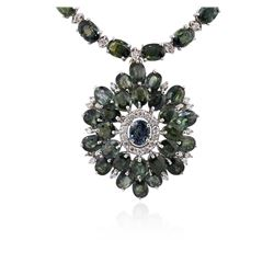 18KT White Gold 59.86ctw Multi Color Sapphire and Diamond Necklace