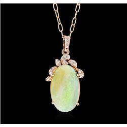14KT Rose Gold 10.36ct Opal and Diamond Pendant With Chain