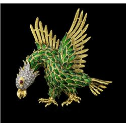 0.75ctw Diamond and Ruby Eagle Pin - 18KT Yellow Gold