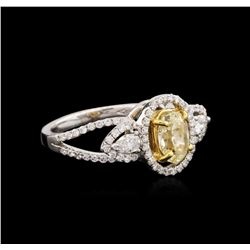 18KT Two-Tone Gold 1.22ctw Fancy Yellow Diamond Ring