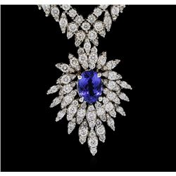 14KT White Gold 2.57ct Tanzanite and Diamond Necklace