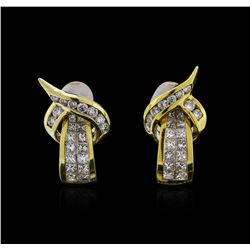 18KT Yellow Gold 1.76ctw Diamond Earrings
