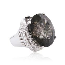 14KT White Gold 56.17ct Tourmaline and Diamond Ring