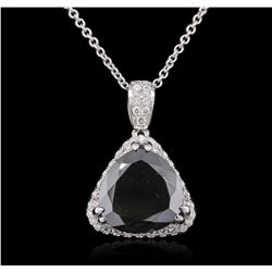 14KT White Gold 6.68ctw Black Diamond Pendant With Chain
