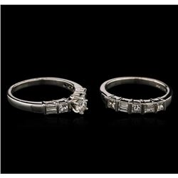1.45ctw Diamond Wedding Ring Set - Platinum