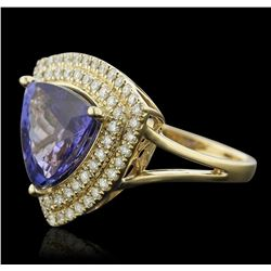 14KT Yellow Gold 4.45ct Tanzanite and Diamond Ring