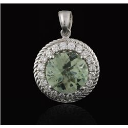 14KT White Gold 3.05ct Green Amethyst and Diamond Pendant