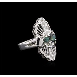 0.93ctw Alexandrite and Diamond Ring - 14KT White Gold