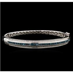 2.01ctw Fancy Blue Diamond Bangle Bracelet - 14KT White Gold