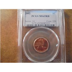 2002 LINCOLN CENT PCGS MS65RD