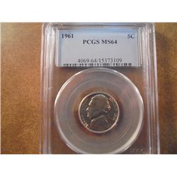 1961 JEFFERSON NICKEL PCGS MS64