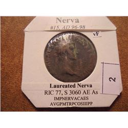 96-98 A.D. NERVA ANCIENT COIN VERY FINE