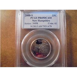 2000-S NEW HAMPSHIRE QUARTER PCGS PR69 DCAM