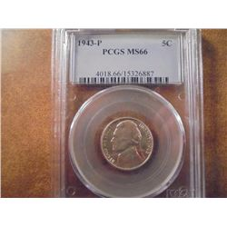 1943-P JEFFERSON WAR NICKEL PCGS MS66