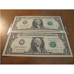 2-2003-A $1 FRN'S LOW CONSECUTIVE SERIAL 'S UNC SERIAL NUMBERS ARE:G00003666H-G00003667H