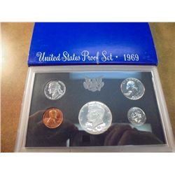 1969 US PROOF SET WITH BOX, 40% SILVER JFK HALF