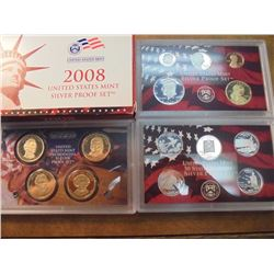 2008 US SILVER PROOF SET (WITH BOX) 14 PIECES INCLUDES PRESIDENTIAL DOLLARS