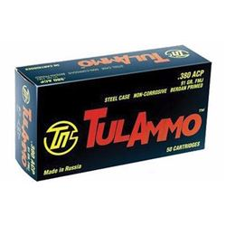 *AMMO* TULAMMO 380 ACP Full Metal Jacket 91 GR (500 ROUNDS) 814950011562
