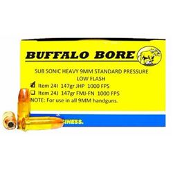 (WC) Buffalo Bore Ammo 24I/20 9mm Subsonic JHP 147GR 20Box/12Case (200 ROUNDS)651815024097