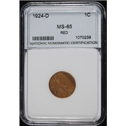 1924-D LINCOLN CENT, NNC GRADED SUPERB GEM BU RED  RARE!