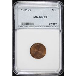 1931-S LINCOLN CENT, SUPERB GEM BU