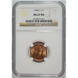 1944-S LINCOLN CENT, NGC MS-67 RED  NGC PRICE GUIDE=$130.00