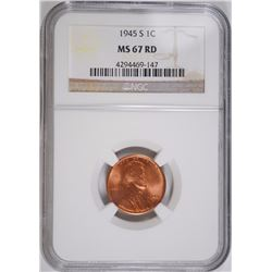 1945-S LINCOLN CENT, NGC MS-67 RED NGC  PRICE GUIDE= $120.00