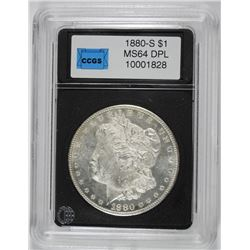 1880-S MORGAN SILVER DOLLAR, CCGS GEM BU DPL WHITE!