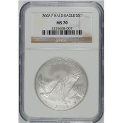 2008-P BALD EAGLE COMMEMORATRIVE SILVER DOLLAR, NGC MS-70