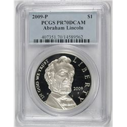 2009-P LINCOLN COMMEMORATIVE SILVER DOLLAR, PCGS PR-70 DCAM