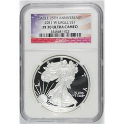 2011 25th ANNIVERSARY AMERICAN SILVER EAGLE, NGC PF-70 ULTRA CAMEO