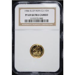 1984 ISLE OF MAN 1/10 OUNCE GOLD  COIN, NGC PF-69 ULTRA CAMEO