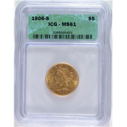 1906-S $5.00 GOLD LIBERTY HEAD